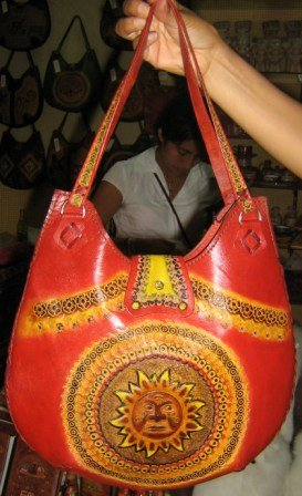 Handmade pure leather bag from Peru