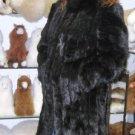 Black chinchilla fur long coat, unique outerwear