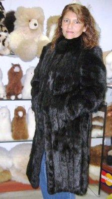 Black chinchilla fur long coat, unique outerwear