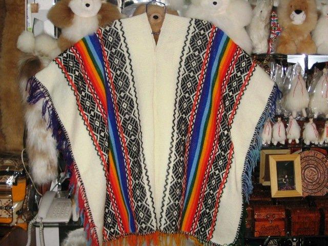 Typical peruvian white Poncho, folkloric designs