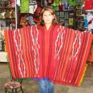 Typical peruvian red Poncho, Alpacawool