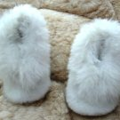 Soft white Baby Alpaca Fur Slippers, 0 - 12 month