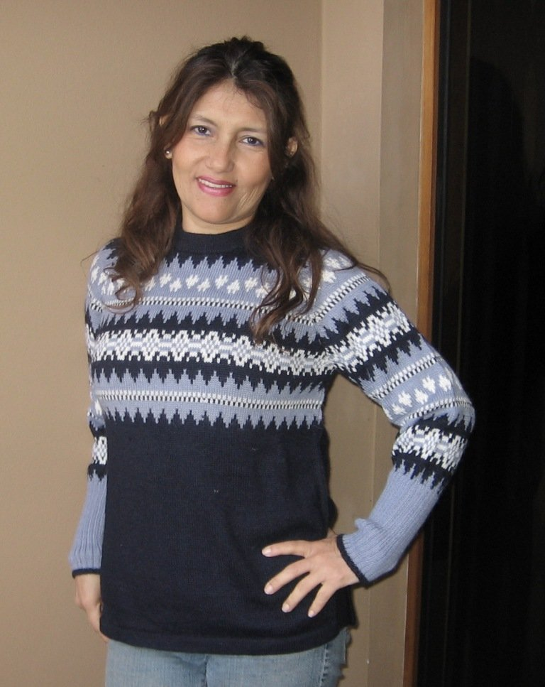 Sweater knitted of alpaca wool, blue colors
