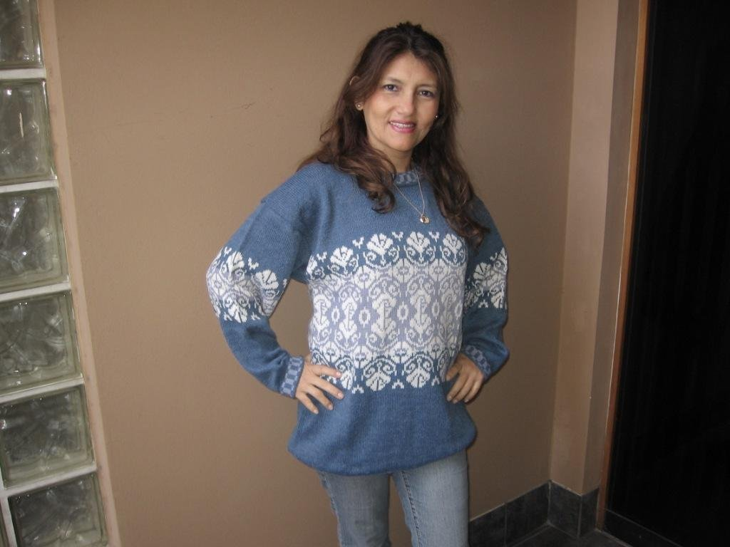 Casual Sweater knitted of alpaca wool, blue and white