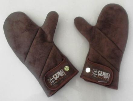 Women's warm and soft brown lambskin winter mittens