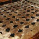 Octagon design alpaca fur rug, browns & black, 190 x 140 cm
