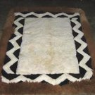 White and brown alpaca fur rug from Peru, 90 x 60 cm