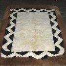 White and brown alpaca fur rug from Peru, 300 x 200 cm