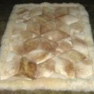 White and beige alpaca fur rug from Peru, 90 x 60 cm