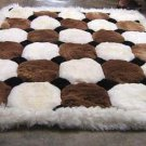 White and brown Alpaca fur rug, Octagon designs 90 x 60 cm