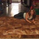 Brown alpaca fur carpet with rhombus designs, 190 x 140 cm