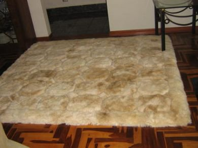 Alpaca fur carpet from Peru with a cube design, 220 x 200 cm