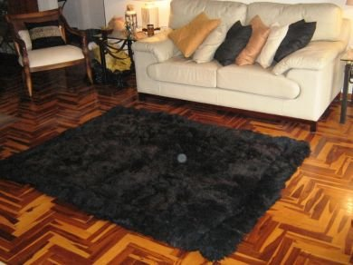 Black alpaca fur carpet, from the Andes of Peru, 90 x 60 cm