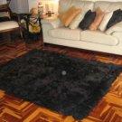 Black alpaca fur carpet, from the Andes of Peru, 300 x 280 cm