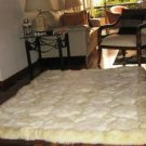 Natural white alpaca fur carpet with Octagon designs, 90 x 60 cm