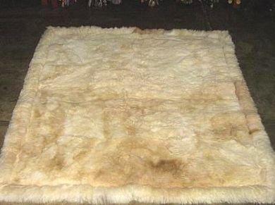 Soft baby alpaca fur carpet, natural white 80 x 60 cm