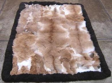 Soft baby alpaca fur carpet with a black boarder, 300 x 280 cm