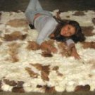 Baby alpaca fur carpet from the Andes, brown and white spots, 300 x 280 cm