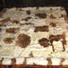 Peruvian baby alpaca fur carpet, natural braun white spots, 90 x 60 cm