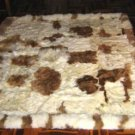Peruvian baby alpaca fur carpet, natural braun white spots, 200 x 180 cm