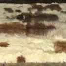 Baby alpaca fur rug, brown / white spots, from Peru, 220 x 200 cm