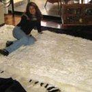Original from Peru, white baby alpaca fur rug, 200 x 180 cm