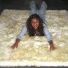 White babyalpaca fur rug from Peru, 80 x 60 cm
