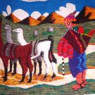 Peruvian motive hand weaved wall rug, Alpaca shepherd