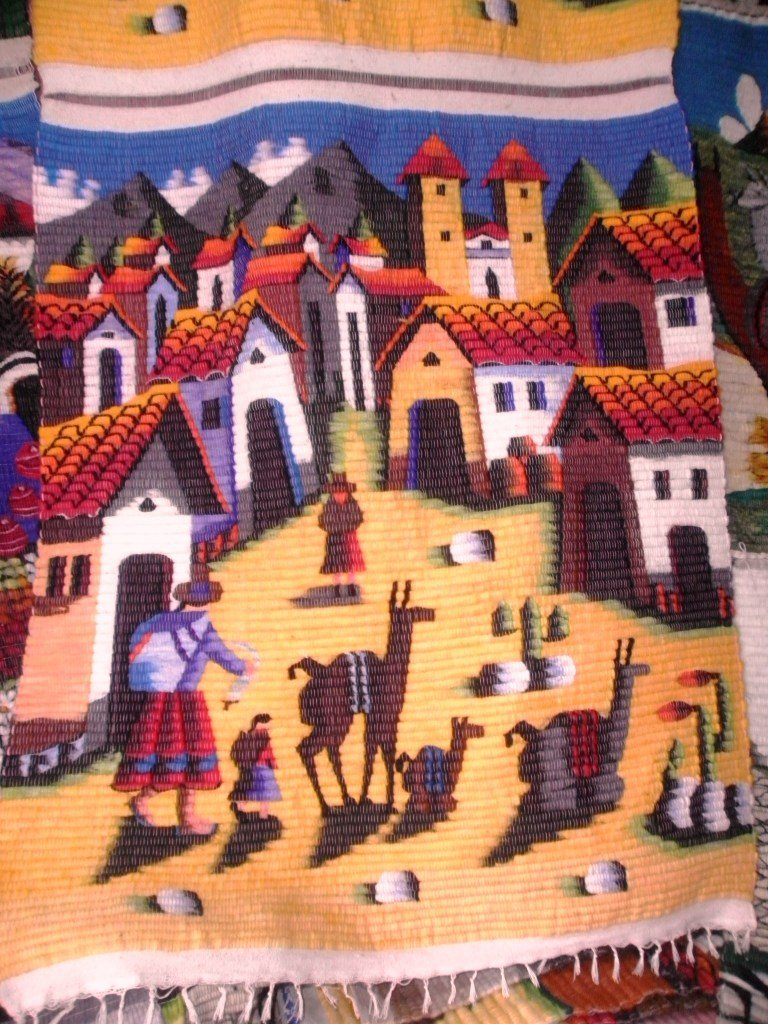 Peruvian wall rug, small village in the Andes