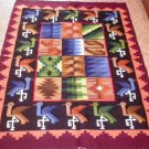 Peruvian hand weaved Rug with Pelican and Rhombus designs