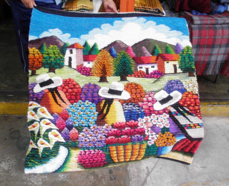 Hand weaved wool rug, flower market in the Andean