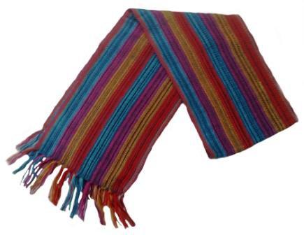 """Unisex 100% Red Alpaca Wool Scarf, Shawl Stripes 63""""x 4.72"""""""