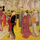 """Wisteria Viewing"" Big Japanese Art Print by Kiyonaga"