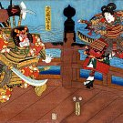 """Samurai on Shijo Bridge"" BIG Japanese Art Print Art"
