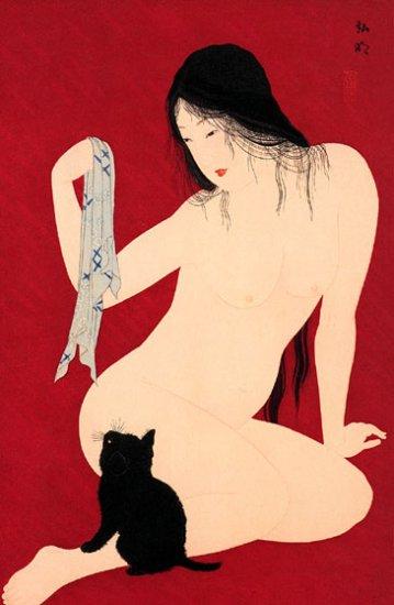 """""""Virgin and Black Cat"""" BIG Japanese Art Print Hiroaki"""