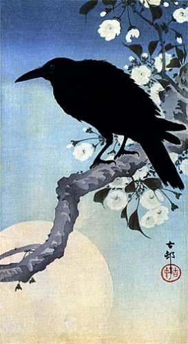"""Crow on Cherry Branch"" BIG Japanese Art Print by Koson"