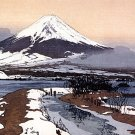 """Fuji From Lake Kawagachi"" Japanese Art Print Yoshida"