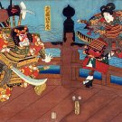 """Samurai Shijo Bridge"" HUGE Japanese Art Print Samurai"