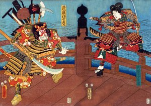 """Samurai Shijo Bridge"" HUGE Japanese Art Print Samurai"