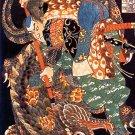 """Samurai & Dragon"" HUGE Japanese Art Print by Kuniyoshi"
