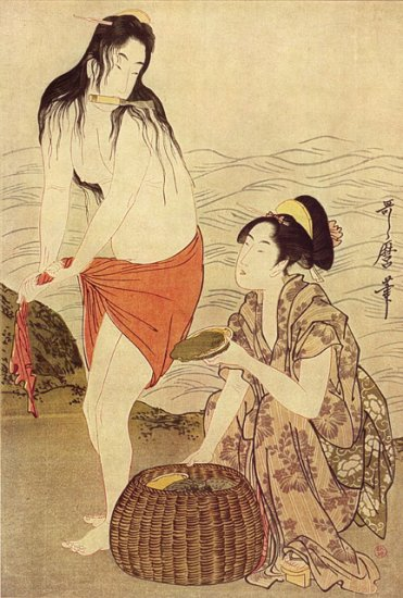 """The Abalone Diver"" Japanese Art Print by Utamaro"