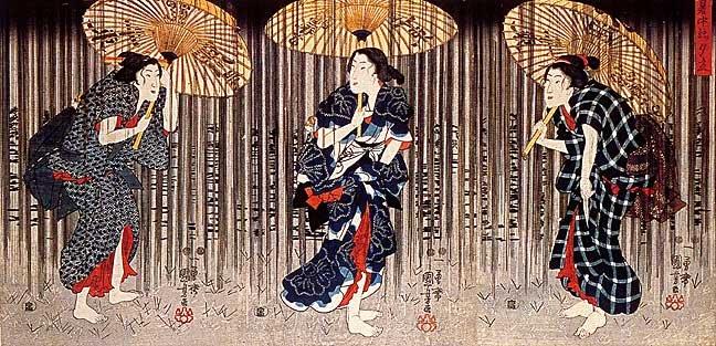 """Ladies in Rain"" Japanese Print by Kuniyoshi Art Japan"