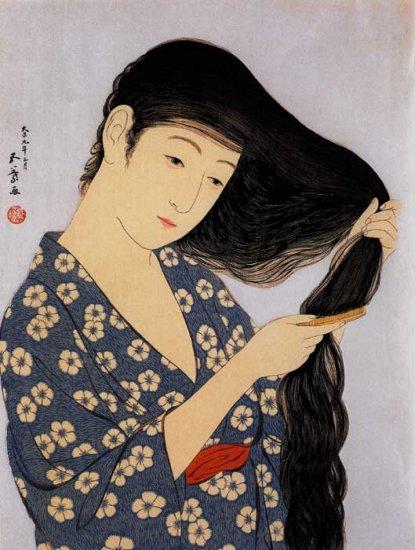 """Long Black Hair"" Art Japanese Print Art Japan by Goyo"