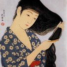 """Long Black Hair"" Art Japanese Print Art Japan by Goyo"