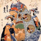 """Mother & Daughters"" Japanese Art Print Japan Art Eizan"