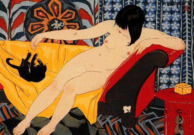 """Nude Playing With Cat"" Japanese Art Print cats Yoshida"