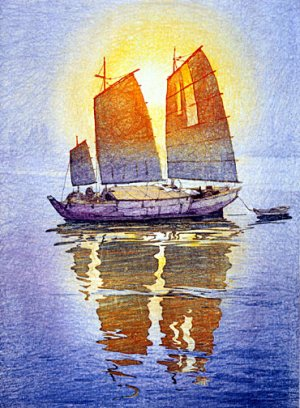 """Sailing Boats Morning Sun"" Japanese Art Print Yoshida"