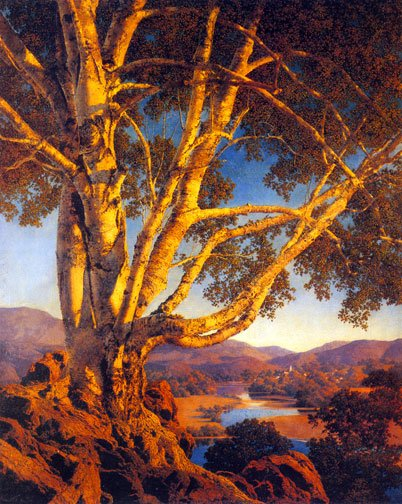 """Old White Birch"" BIG Maxfield Parrish Art Deco Print"