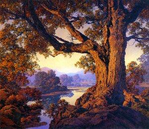 """""""Riverbank Autumn"""" BIG Maxfield Parrish Art Deco Print"""
