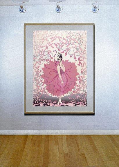 """Pink Lady"" BIG Art Deco Print by Erte"